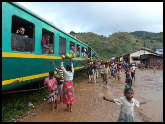 Train de Manakara en gare en brousse