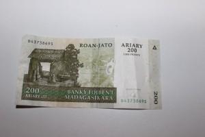Billet de 200 Ariary.