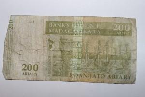 Un vieux billet, typique de la monnaie de Madagascar