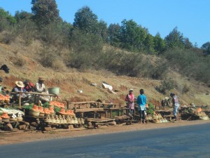 Vendeurs de fruits sur la RN7