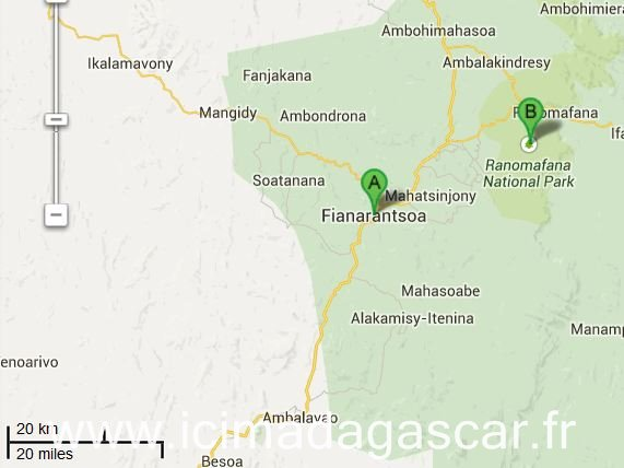 Localisation de Ranomafana sur un plan